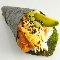 Temaki salmón tempura
