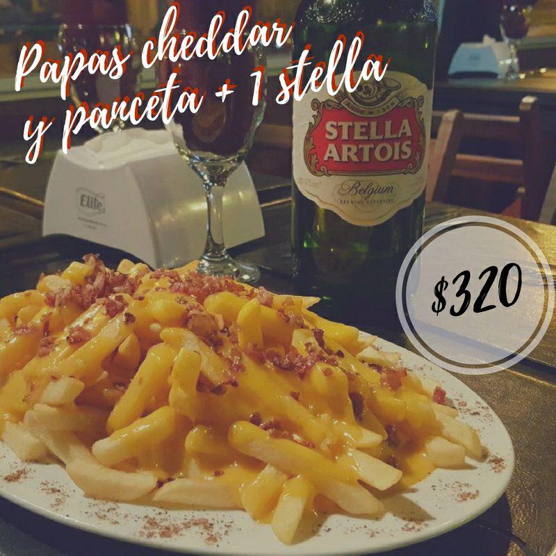 Promo - Papas cheddar y panceta + 1 Stella Artois