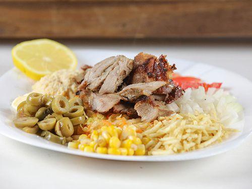 Shawarma al plato de novillo y cerdo