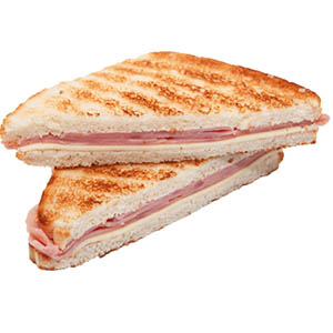 Sandwich caliente comun + porcion de muzza + faina